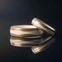 Prstene - drevená obrúčka - javor / orech / striebro - 11127182_