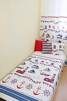 Textil - Prehoz, prikrývka do detskej izby, 110x190 cm - kolekcia Námorník - 11127134_