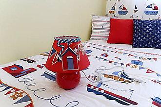 Svietidlá a sviečky - Dekoračná lampa do detskej izby červená - kolekcia Námorník - 11127211_
