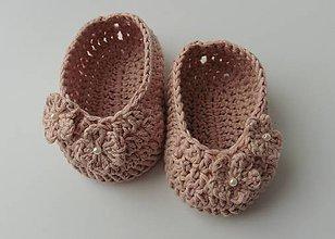 Topánočky - Detské papučky/topánočky (Detské papučky/topánočky - krémovo staroružová) - 11129104_