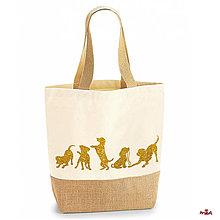 """Veľké tašky - """"gold doggies"""" plátená taška spevnená jutou - 11127897_"""