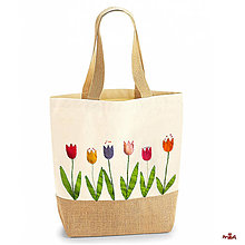 "Iné tašky - ""Tulips"" odolná taška z hrubého plátna, spevnená jutou - 11127954_"