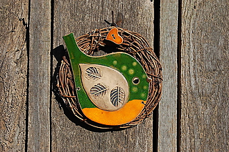 Dekorácie - Vtáčik vo venčeku č. 109 - 11127523_
