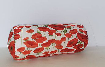 Úžitkový textil - Vankúš - valec č.3  (Červené maky) - 11128924_