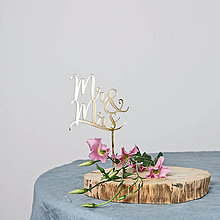 Dekorácie - Mr & Mrs zápich na tortu - 11129186_