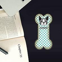Papiernictvo - Psia záložka do knihy - puntíky  (bostonský teriér) - 11129816_