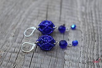 Náušnice - náušnice zo slniečok predĺžené (modré) - 11130490_