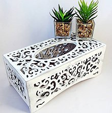 Krabičky - Vyrezávaný servítkovník-biely - 11131432_