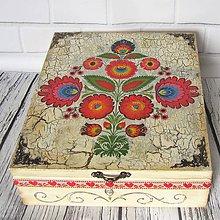 Krabičky - Drevená krabica ornamentová  (Popraskaný vzhľad) - 11131527_