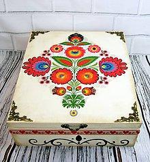 Krabičky - Drevená krabica ornamentová  (ornament 2x) - 11131534_