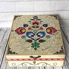 Krabičky - Drevená krabica ornamentová   (popraskaná) - 11131576_