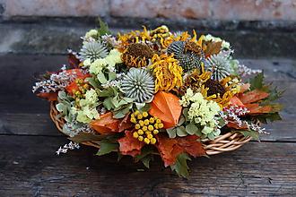 Dekorácie - Jesenný aranžmán v košíku - 11132629_