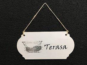 "Dekorácie - Tabuľka "" Terasa ""  (Biela) - 11132439_"