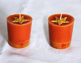 Svietidlá a sviečky - sviečka z včelieho vosku (zero waste) citrón/borovica (Červená) - 11132983_