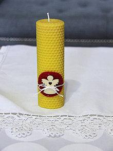 Svietidlá a sviečky - sviečka z včelieho vosku veľká s anjelikom  (Červená) - 11133188_