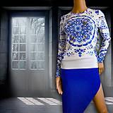"""Tričká - FLORAL FOLK """" Modrotlač """", tričko s dlhým rukávom - 11133371_"""
