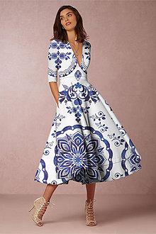 """Šaty - FLORAL FOLK """" Slovenská ornamentika """", spoločenské šaty v dĺžke midi (Biela) - 11130748_"""