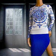 """Tričká - FLORAL FOLK """" Modrotlač """", tričko s dlhým rukávom (Biela) - 11133371_"""