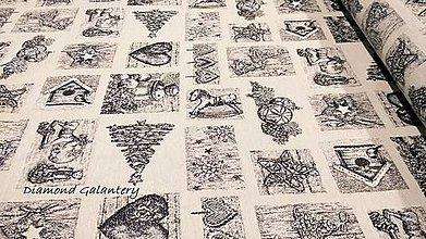 Textil - Látka pretkávaná lurexovou niťou - Vianočný patchwork (Šedá) - 11132416_