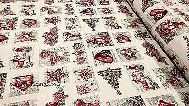 Textil - Látka pretkávaná lurexovou niťou - Vianočný patchwork (Červená) - 11132424_