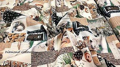 Textil - Bavlnená režná digitálna tlač - Vianočný patchwork III - cena za 10 cm - 11132471_