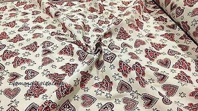 Textil - Látka pretkávaná lurexovou niťou -Vianočné stromčeky a srdiečka - cena za 10 cm - 11132488_