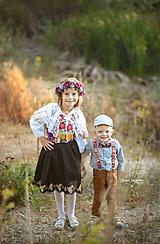 Detské doplnky - NOVINKA Detský folk set traky z gumy a extra vystužený motýlik - červený - 11131699_