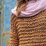Svetre/Pulóvre - pletený sveter FREE okrový melír - 11132813_