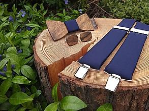 Doplnky - Pánsky drevený motýlik, manžetové gombíky a traky - 11130963_