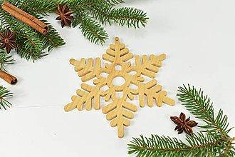 Dekorácie - Snehová vločka č.5 (3ks) - drevená vianočná ozdoba (Javor 3ks) - 11131714_