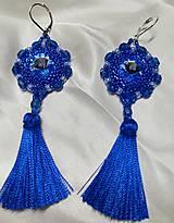 Náušnice - Náušnice s hodvábnymi strapcami modré  - 11133458_