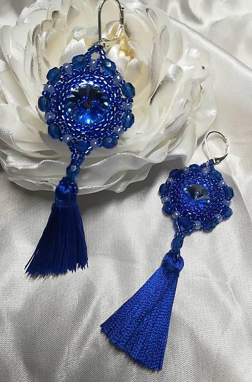 Náušnice s hodvábnymi strapcami modré