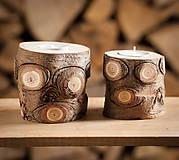 Svietidlá a sviečky - Okatý drevený svietnik prírodný (malý) - 11131167_