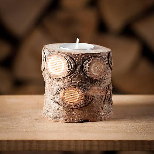 Okatý drevený svietnik prírodný (malý)