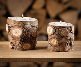 Svietidlá a sviečky - Okatý drevený svietnik prírodný - 11131166_