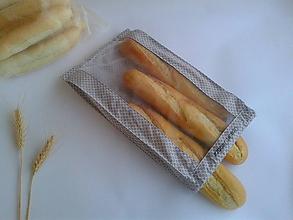 Úžitkový textil - Vrecúško na chlieb a pečivo - sivé (1/2kg chlieb) - 11132475_