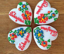 """Darčeky pre svadobčanov - Perníkové srdce """"STREDNÉ s kvetami"""" - 11132897_"""