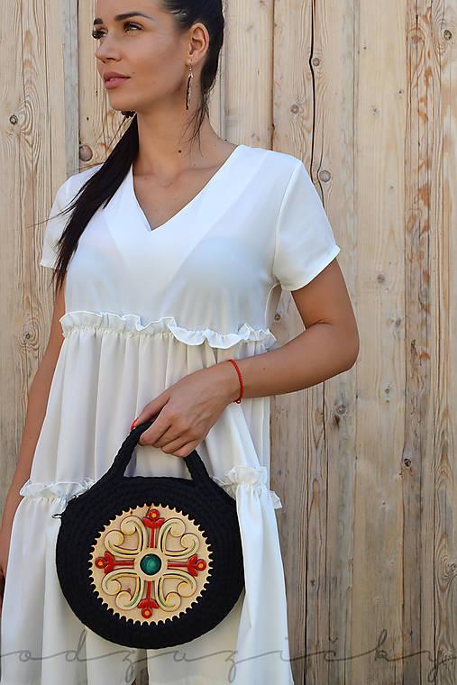 Drevená kabelka hačkovaná Marína (Čierna)