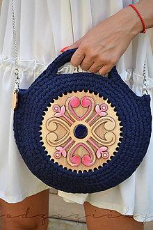 Kabelky - Drevená kabelka hačkovaná Marína (Modrá) - 11130981_