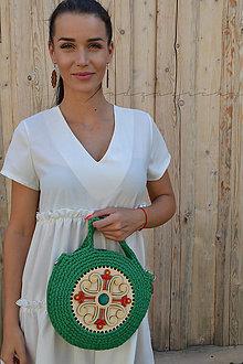 Kabelky - Drevená kabelka hačkovaná Marína (Zelená) - 11130986_