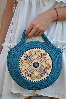 Kabelky - Drevená kabelka hačkovaná Marína (Modrá) - 11131027_