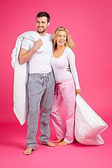 Pyžamy a župany - Laggar dámske pyžamové nohavice (Bledomodrá L) - 11130511_