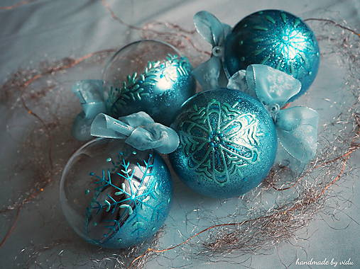 MODRÉ vianočné gule s 3D fotkou