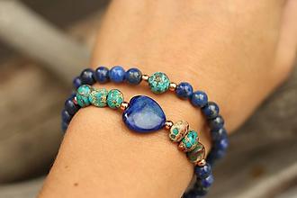 Náramky - DUO set náramkov lapis lazuli, regalit, achát - 11132827_