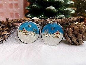 Náušnice - Vianočné náušnice visiace so Santom, striebro Ag - 11132692_