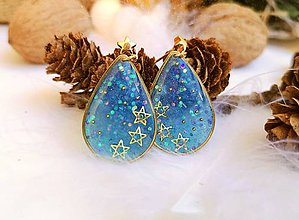 Náušnice - Vianočné náušnice napichovacie modré s hviezdičkami - 11132793_