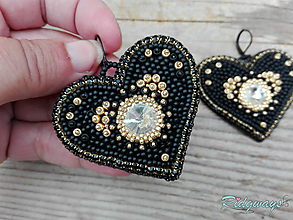 Náušnice - Heart collection...vyšívané (Black/Gold) - 11135471_