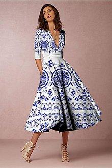 """Šaty - FLORAL FOLK """" Slovenská ornamentika """", spoločenské šaty v dĺžke midi (Biela) - 11135999_"""