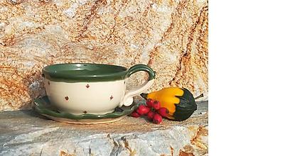 Nádoby - Keramická šálka na polievku,čaj + tanierik na dobroty - 11134749_