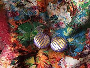 Náušnice - zlaté prúžky/keramika/ - 11134024_
